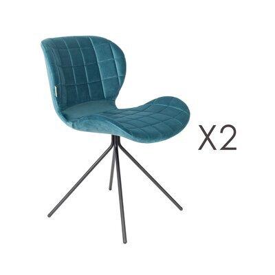 Lot de 2 chaises vintage en velours bleu - OMG