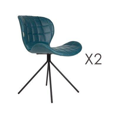 Lot de 2 chaises vintage en PU bleu - OMG