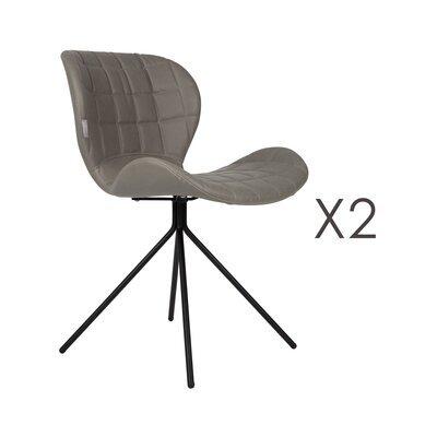 Lot de 2 chaises vintage en PU gris - OMG