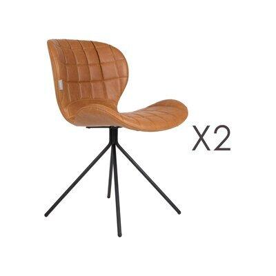 Lot de 2 chaises vintage en PU marron - OMG