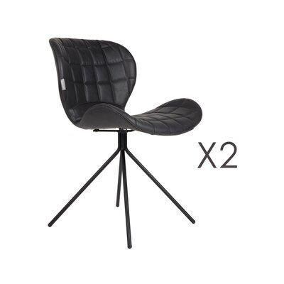 Lot de 2 chaises vintage en PU noir - OMG