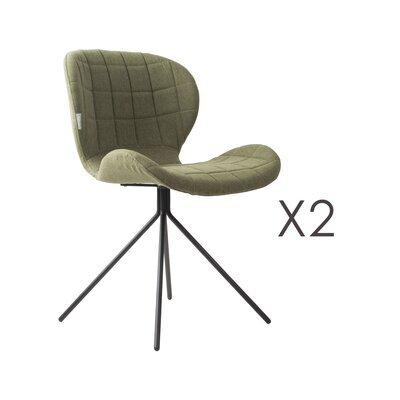 Lot de 2 chaises vintage en tissu vert - OMG