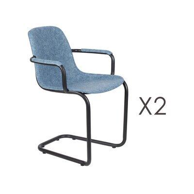 Lot de 2 chaises avec accoudoirs 59x55x78,5 cm bleu - THIRSTY