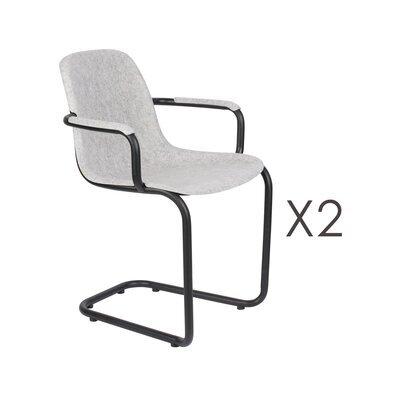 Lot de 2 chaises avec accoudoirs 59x55x78,5 cm gris clair - THIRSTY