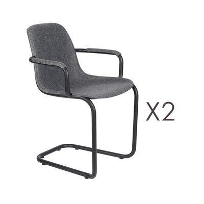 Lot de 2 chaises avec accoudoirs 59x55x78,5 cm gris foncé - THIRSTY