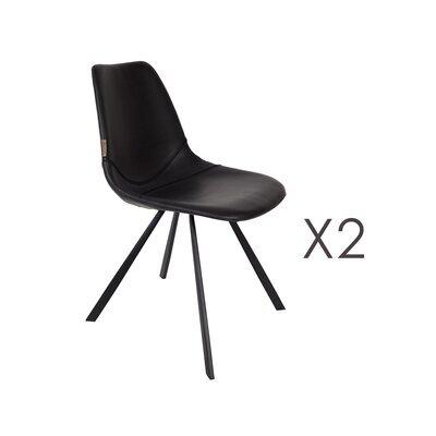 Lot de 2 chaises 46x56x83 cm en PU noir - FRANKY