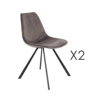 Lot de 2 chaises 46x56x83 cm en velours gris - FRANKY