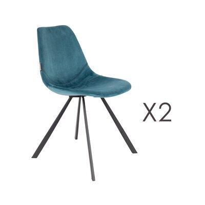 Lot de 2 chaises 46x56x83 cm en velours bleu - FRANKY