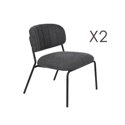 Lot de 2 chaises 56x60x68 cm en tissu gris foncé - JULIEN