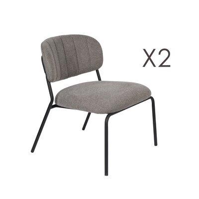 Lot de 2 chaises 56x60x68 cm en tissu gris - JULIEN