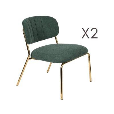 Lot de 2 chaises 56x60x68 cm en tissu vert foncé - JULIEN