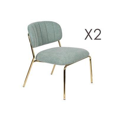 Lot de 2 chaises 56x60x68 cm en tissu vert clair - JULIEN