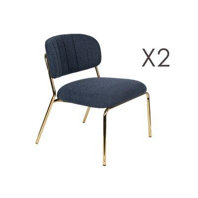 Lot de 2 chaises 56x60x68 cm en tissu bleu foncé - JULIEN