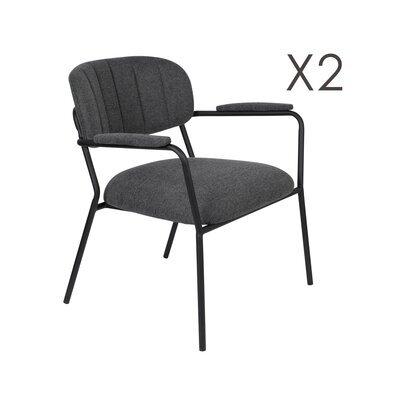Lot de 2 chaises 69,5x61x73 cm en tissu gris foncé - JULIEN