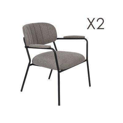 Lot de 2 chaises 69,5x61x73 cm en tissu gris - JULIEN