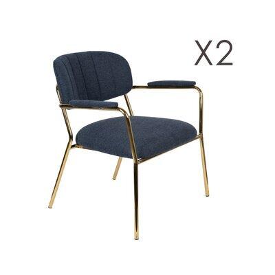 Lot de 2 chaises 69,5x61x73 cm en tissu bleu foncé - JULIEN