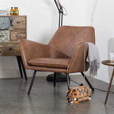 Fauteuil 80x76x78 cm en PU vintage marron - BONY