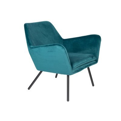 Fauteuil 80x76x78 cm en tissu velours bleu - BONY