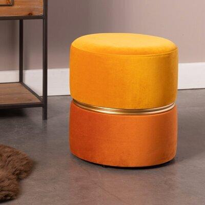 Pouf rond 35x39 cm en velours jaune - BULBY