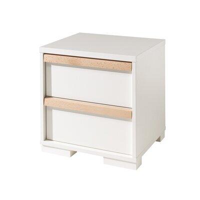 Chevet 2 tiroirs blanc et naturel - BILLY