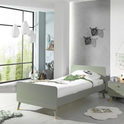 Lit 1 place 90x200 cm avec sommier et chevet vert clair - GAMAY