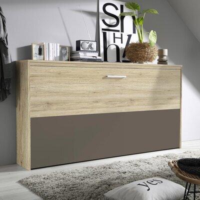Lit escamotable 90x200 cm décor chêne et demie façade chocolat
