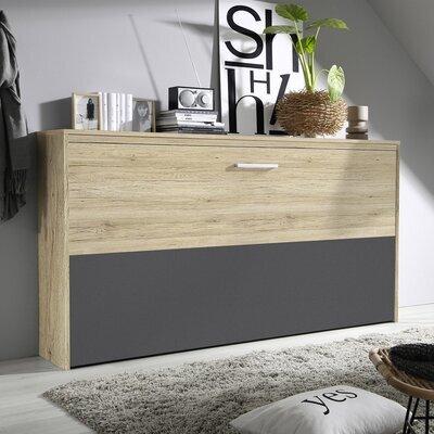 Lit escamotable 90x200 cm décor chêne et demie façade gris métal