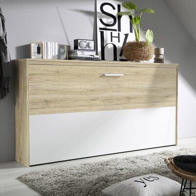 Lit escamotable 90x200 cm décor chêne et demie façade blanche