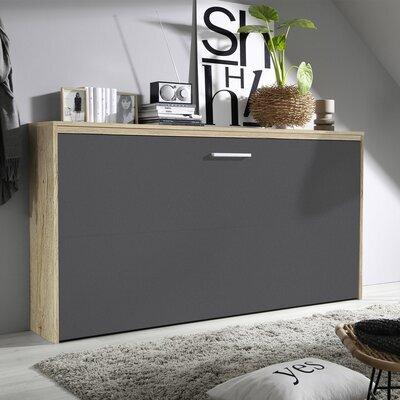 Lit escamotable 90x200 cm décor chêne et façade gris métal