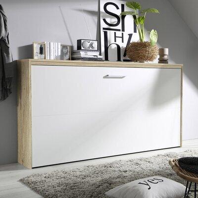 Lit escamotable 90x200 cm décor chêne et façade blanche