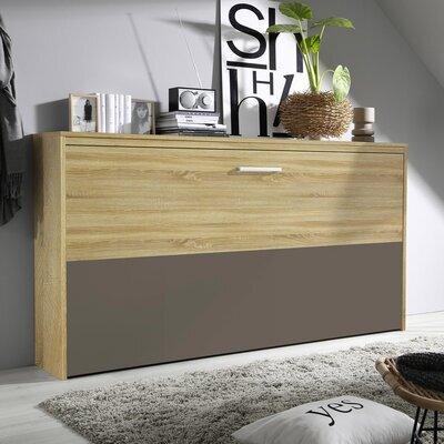 Lit escamotable 90x200 cm décor chêne sonoma et demie façade chocolat