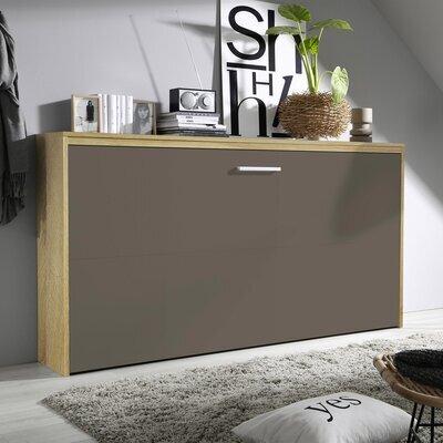 Lit escamotable 90x200 cm décor chêne sonoma et façade chocolat