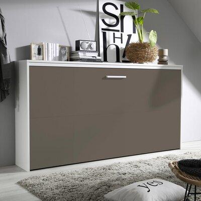 Lit escamotable 90x200 cm blanc et façade chocolat