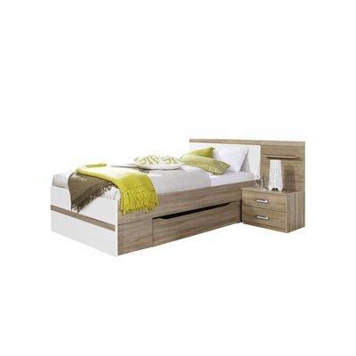 Lit 90x200 cm avec chevet 2 tiroirs et tiroir décor chêne et blanc