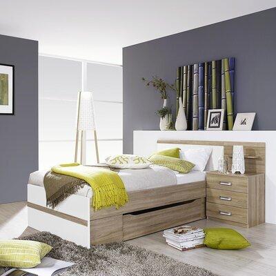 Lit 90x200 cm avec chevet 3 tiroirs et tiroir décor chêne et blanc