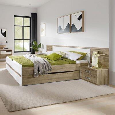 Lit 180x200 cm avec 2 chevets et un tiroir décor chêne et blanc