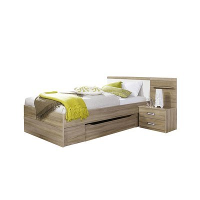 Lit 90x200 cm avec chevet 2 tiroirs et tiroir décor chêne