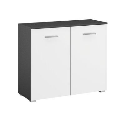 Commode 2 portes gris foncé et blanc - ATTIS