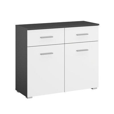 Commode 2 portes et 2 tiroirs gris foncé et blanc - ATTIS