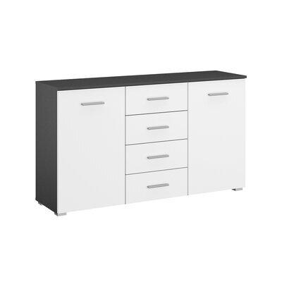 Commode 2 portes et 4 tiroirs gris foncé et blanc - ATTIS