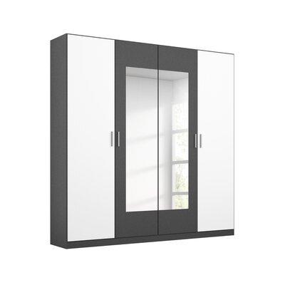 Armoire 4 portes 181 cm gris foncé et blanc - ATTIS
