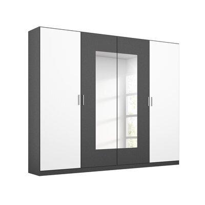 Armoire 4 portes 226 cm gris foncé et blanc - ATTIS