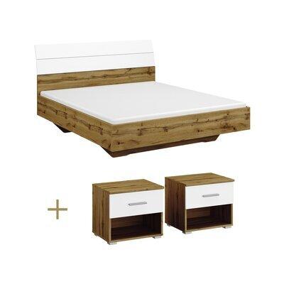 Lit 140x190 cm avec 2 chevet chêne et blanc - ATTIS