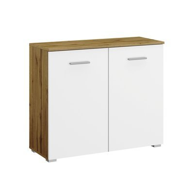 Commode 2 portes chêne et blanc - ATTIS