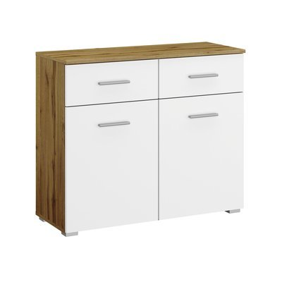 Commode 2 portes et 2 tiroirs chêne et blanc - ATTIS
