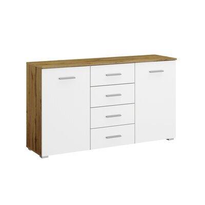 Commode 2 portes et 4 tiroirs chêne et blanc - ATTIS