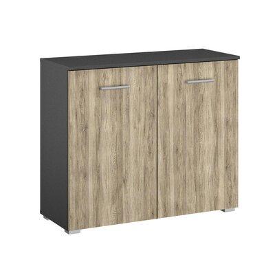 Commode 2 portes chêne et gris foncé - ATTIS