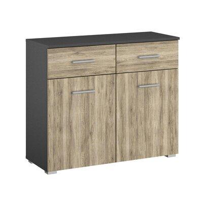 Commode 2 portes et 2 tiroirs chêne et gris foncé - ATTIS