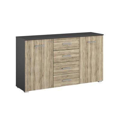 Commode 2 portes et 4 tiroirs chêne et gris foncé - ATTIS