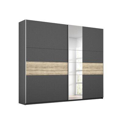 Armoire 2 portes coulissantes 218 cm chêne et gris foncé - ATTIS